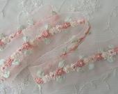 32 inch Hand Embroidered PEACH Organza Ribbon Flower Trim Antique Vintage Baby Doll Christening Gown