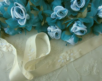 36pc Chic TEAL Satin Organza Ribbon Wired Rose Peony Flower Reborn Doll Bridal Wedding Bow Hair Accessory Applique