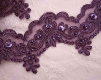 DK Purple beaded flower lace trim embellished embroidered organza doll bridal with pearls sequins flowers