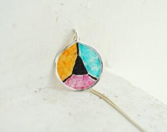 Color Block Pendant, Colorful Jewelry, Geometric Triangle Necklace