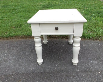 Shabby Cottage Chic, Distressed, Hand Painted End Table