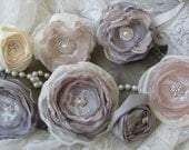 Wedding Cake Fabric Flowers  Blush and Grey, Vintage Cake Decor, Wedding Cake Topper, Set of 7 Alternative cake flowers, Rustic Wedding,