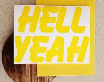 HELL YEAH letterpress note card