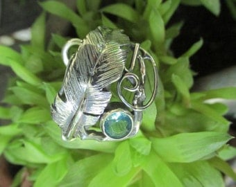 Sterling Silver Feather and Blue Apatite Brutalist Adjustable Spiral Ring