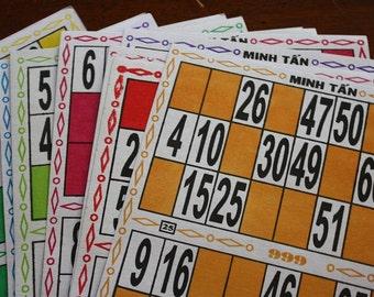 Fourteen Asian Game Cards Paper Ephemera