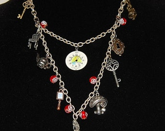 Alice in Wonderland Necklace Bib Charm Necklace One of a Kind