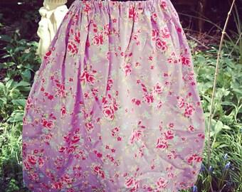 Handmade Lilac Floral Rose Print Vintage Style Skirt