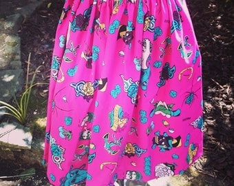 Handmade Rockabilly Tattoo Print Vintage Style Skirt