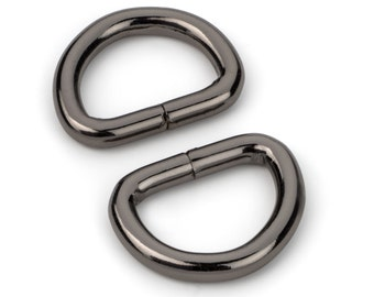 "10pcs - 5/8"" Metal D Rings Dee Rings Non Welded Black Nickel - Free Shipping (D-RING DRG-156)"