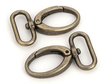 "30pcs - 1 1/4"" Metal Egg Shaped Push Gate Swivel Snap Hook - Antique Brass - (METAL HOOK MHK-192)"