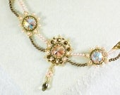 Crystal Statement Necklace  Pink Bronze Gold Retro Jewelry  Romantic gift