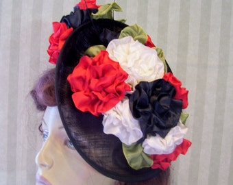 SALE Black Kentucky Derby Sinamay Fascinator Hat Wedding Hat Races Fascinator Ascot Hat Ribbon Flowers