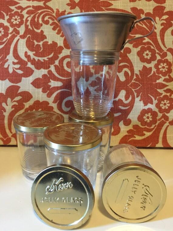 sale vintage kerr jelly glass jar and funnel set of 5. Black Bedroom Furniture Sets. Home Design Ideas