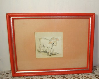 Sweet Framed Picture of Baby Lamb, Matted, Orange Frame, Nursery Decor, Child's Room