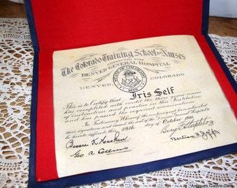 Colorado Training School For Nurses, Denver, Colorado, Diploma, October 1930, Diploma, Nursing, Certificate, Red, White and Blue  (518-15)