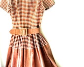 Sweet vintage 50s  light brown and white  checkered cotton blend , hand made , summer dress. Size 4.