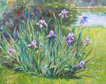 Original Oil Painting * Iris Flowers * FLAGS OF BLUE