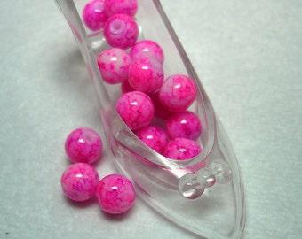 White Pink Splashed Glass Round Beads (Qty 16) - B2849