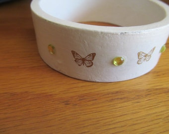 white butter fly bangle
