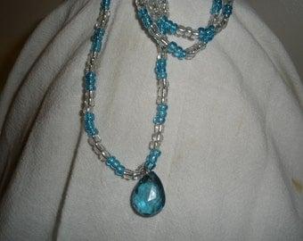 Blue Tear Drop Crystal Necklace