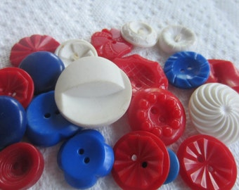 Vintage Buttons - Cottage chic mix of fancy red, white and blue, lot of 22, old and sweet(july 523)