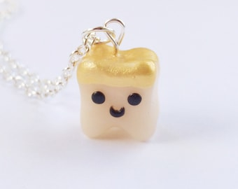 Dental Assistant, Tooth Charm with Gold Crown Necklace Polymer Clay, Dental Gift, Dental Hygienist Gift