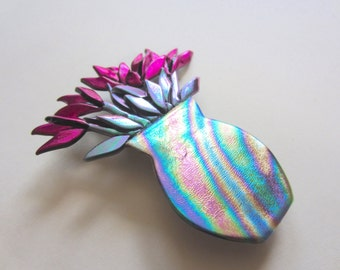 Rainbow Vase of Hot Pink Fuschia Tulips in pin brooch