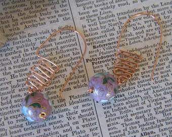 Handmade Cloisenne Bead Earrings with Wild Copper Ear Wires - AS