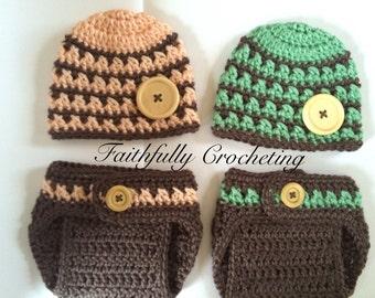 Newborn twin hats... Twin diaper covers... Newborn boy girl twins set... Marching beanies.. Photography prop.. Ready to ship
