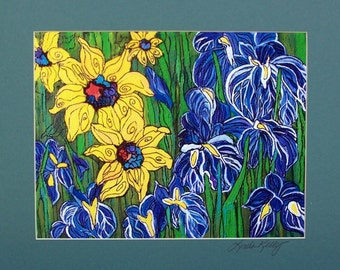 Print of my Original painting of sunflower and Iris mix with signed matt  Linda Kelly