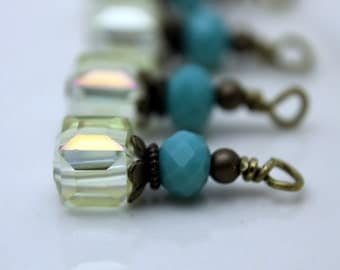 Antiqued Clear AB Faceted Square Cube and Czech Turquoise Rondelle Bead Earring Dangle Charm Set
