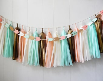 Tassel Garland - Mint Peach Gold French Vanilla - Free Shipping