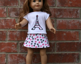 18 Inch Doll Chevron Eiffel Tower Skirt and Shirt Set