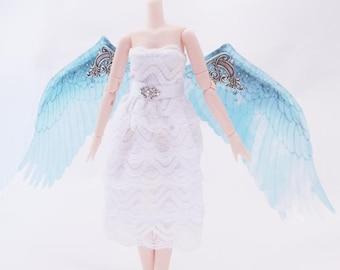 1/6 OOAK Angel wings for Dolls - Iridescent Blue