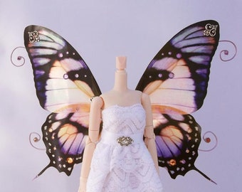 1/6 OOAK Butterfly wings for Dolls - Orion - Purple Amber