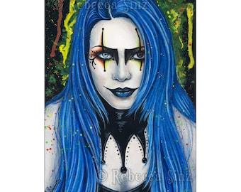 Harlequin ACEO PRINT Gothic Creepy Colorful Jester Portrait Art Artist Trading Cards ATC Clown Paint Splatter Blue Hair Fantasy Art