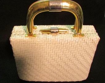 Vintage 50s Rodo straw and leather handbag made in Italy