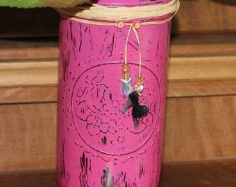 Rustic orchid pink painted Ball Mason Jar-beaded decorations,raffia bow-Girls nursery decor - Baby shower - Wedding centerpiece-