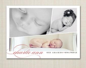 modern birth announcement, Baby announcement, Baby girl announcement, Double sided birth announcement, printable digital birth announcement