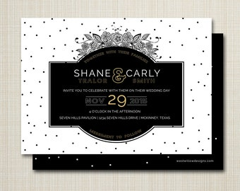 wedding invitation, custom wedding invitation, ombre wedding invitation, modern wedding invitation, custom printable - black and white dots