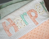 Monogrammed Baby Blanket in SUNSET/ Metallic Gold, Peach, and Mint Fabric Letters with White Chenille and Minky Personalized for Baby Girl