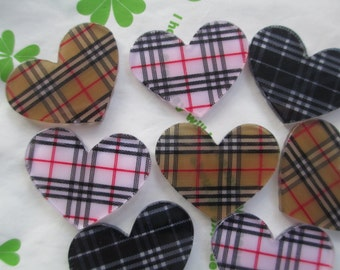 Tartan plaid heart acrylic cabochons 4pcs 32mm x 26mm Pick colors new item