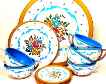 50s Tin Toy Tea Set, Blue Heaven by Ohio Art Co. 15 pieces with snowflakes & flowers.