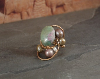 Ring - Sculptural Freeform Statement - Gold - Anyolite with Ruby - Ruby in Zoisite - Pearl - Size 7 - Wearable Art Jewelry - Metal Wire Wrap