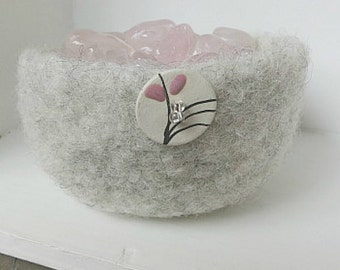 Gray Felted Bowl, Hand Knit Bowl With Flower Button, Rose Quartz Bowl, Felt Wool Bowl, Treasure Bowl