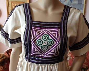 Vintage 1970s Dress with Quilted Bodice...S/M