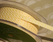 """Chevron Striped Twill - Yellow and White Striped Trim - May Arts Ribbons - 1/4"""" - 6 Yards"""