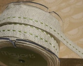 "Green Burlap Center Stitch Trim - Woven Jute Stitched Ribbon - May Arts Ribbons - 5/8"" - 4 Yards"