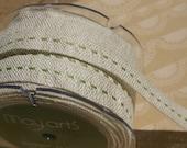 "Green Burlap Center Stitch Trim - Woven Jute Stitched Ribbon - May Arts Ribbons - 5/8"" - 4 Yards"