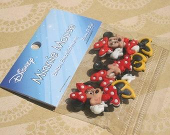 """Disney Buttons - Minnie Mouse Buttons - Sewing Bulk Button - 1 5/8"""" Tall - 3 Shank Buttons"""